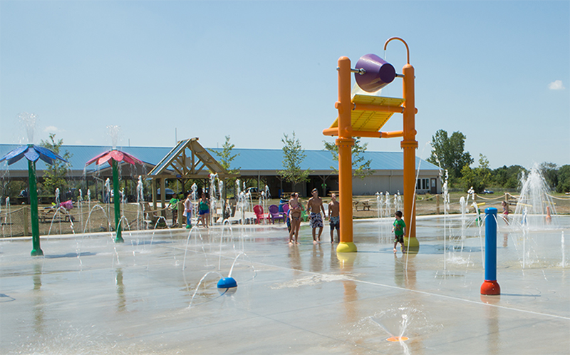 splash pad bucket drop